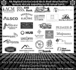 Ark Regional Services would like to thank these earlybird sponsors who are supporting our 5th Annual event