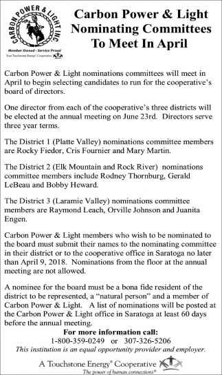 Nominating Committes to meet in April