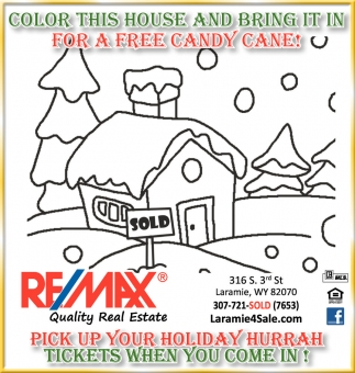 Color this house and bring it in for a free candy cane!