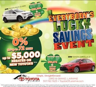Toyota Of Laramie >> Everybody Lucky Savings Event Toyota Of Laramie Laramie Wy