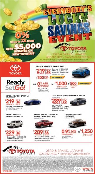 Toyota Of Laramie >> Everybody S Lucky Savings Event Toyota Of Laramie Laramie Wy