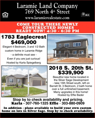 Come tour these newly constructed homes
