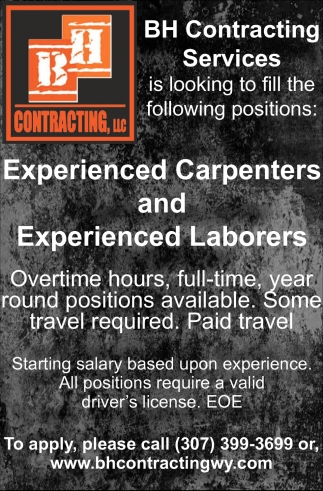 Experienced Carpenters and Experienced Laborers