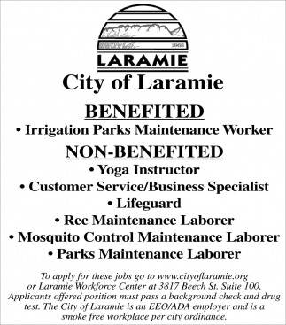 City of Laramie Hiring!