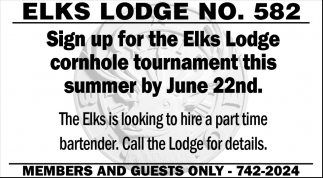 Sign up for the Elks Lodge Cornhole Torunament this Summer by June 22nd