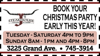 Book Your Christmas Party Early this Year!