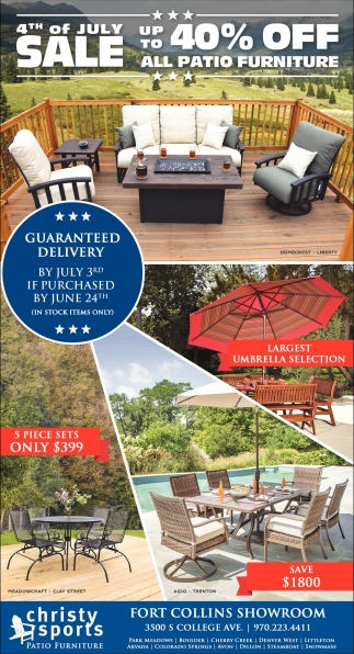 Ads For Christy Sports Patio Furniture In Fort Collins Co