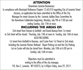 Attention Downtown Laramie Businesses