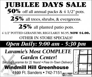 Jubilee Days Sale