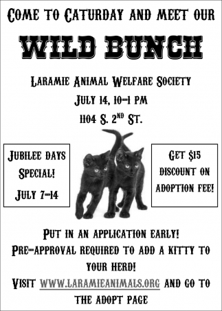 Come toCaturday and Meet Our Wild Bunch