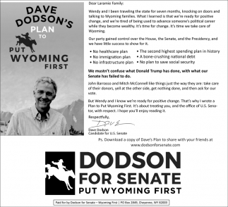 Dave Dodson's Plan to Put wyoming First
