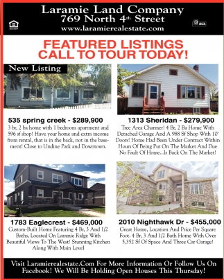 Featured Listings Call to Tur Today!