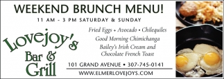 Weekend Brunch Menu!