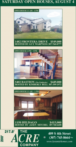 Saturday Open Houses, August 4