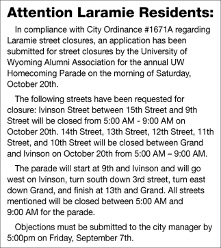 Attention Laramie Residents