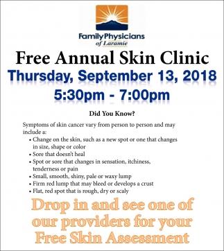 Free Annual Skin Clinic