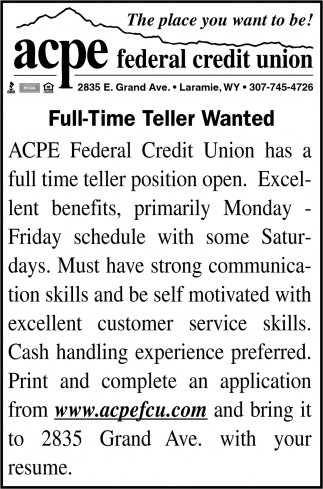 Full Time Teller Wanted