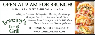 Open at 9 am for Brunch!