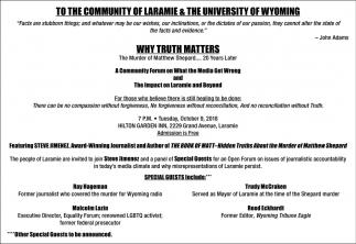 To the Community of Laramie & the University of Wyoming