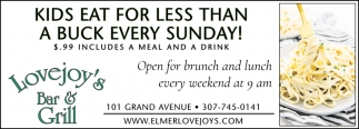 Kids Eat for Lessthan a Buck Every Sunday