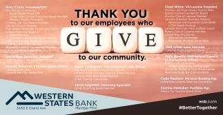 Thank You to Our Employees Who Give to Our Community
