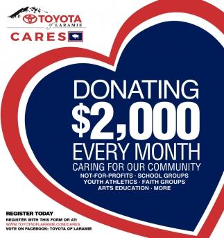 Toyota Of Laramie >> Donating 2 000 Every Month Toyota Of Laramie Laramie Wy