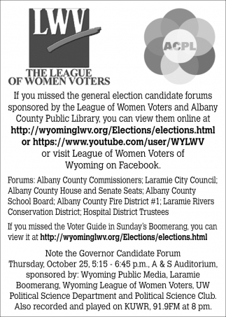 If You Missed the General Election Candidate Forums