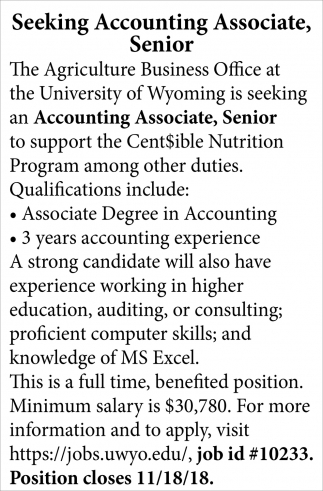 Seeking Accounting Associate, Senior