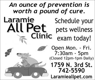 Schedule Your Pets Wellness Exam Today!