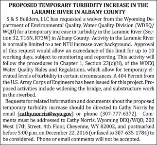 Proposed temporary turbidity increase in the laramie river in albany county