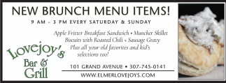 New Brunch Menu Items!