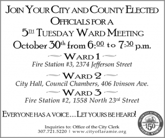 5th Tuesday Ward Meeting