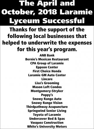 2018 Laramie Lyceum Successful