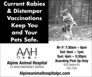 Current Rabies & Distemper Vaccinations