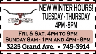 New Winter Hours!