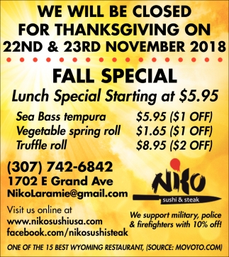We Will Be Closed for Thanksgiving