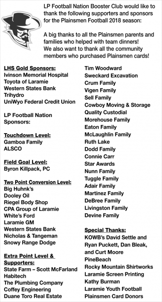 Thanks to the following supporters and sponsors