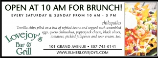 Open at 10 AM For Brunch