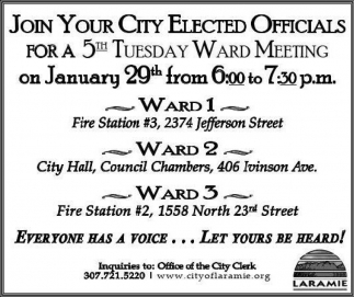 5th Tuesday Ward Meeting