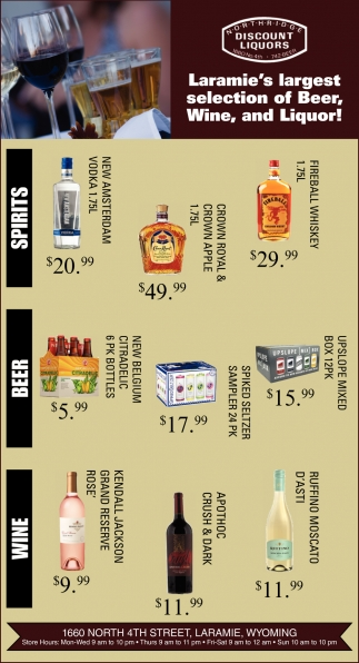 Laramie's Largest Selection of Beer, Wine, and Liquor!