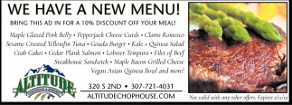 We Have a New Menu