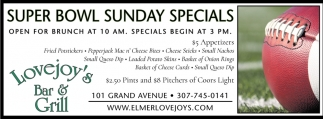 Super Bowl Sunday Specials
