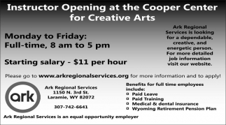 Instructor Opening at the Cooper Center for Creative Center