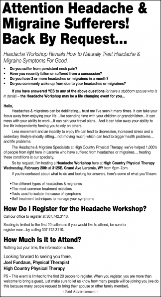 Headache Workshop
