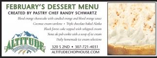 February's Dessert Menu