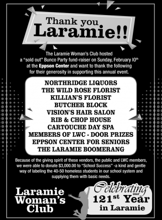 Celebrating 121st Year in Laramie