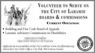 Volunteer to Serve on the City of Laramie Boards & Commissions