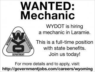 WYDOT is Hiring a Mechanic in Laramie