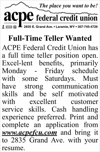 Full-Time Teller Wanted