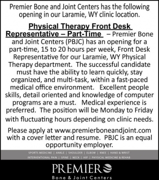 Physical Therapy Front Desk Representative - Part Time